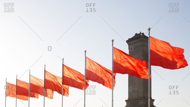Red flags above Tiananmen Square in Beijing, China