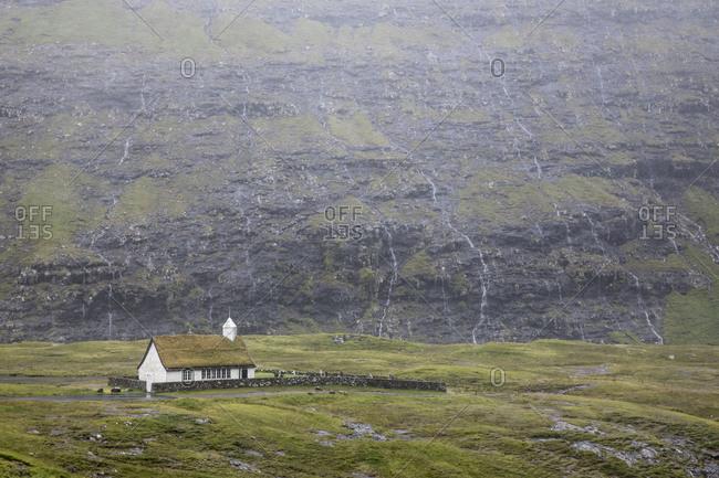 Faroes, Streymoy, Saksun, scenery, church