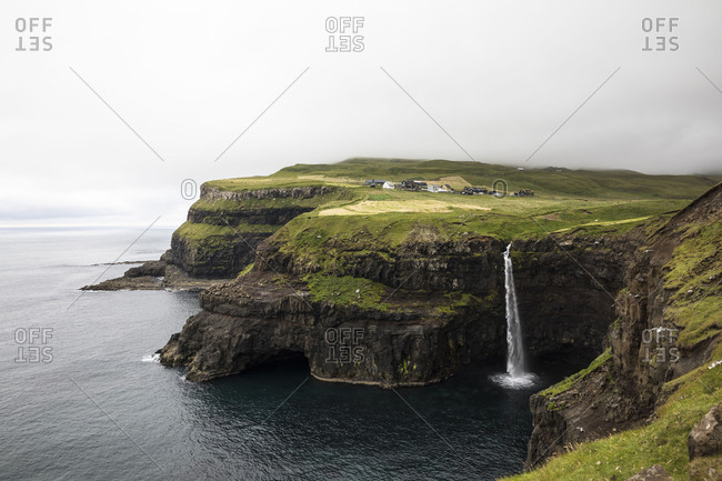 Faroes, Vagar, Gasaldur, waterfall