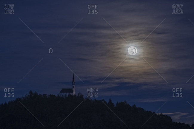Pilgrimage Church of Maria Locherboden with rising moon,