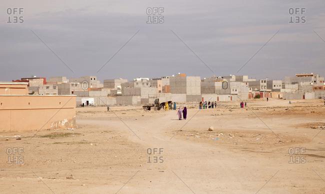 Road, houses, Sand, desert, Morocco
