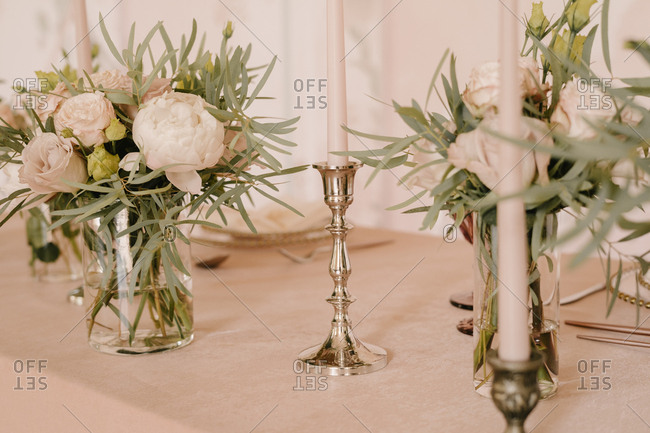 Head table, wedding decor in pink. the table of the bride and groom