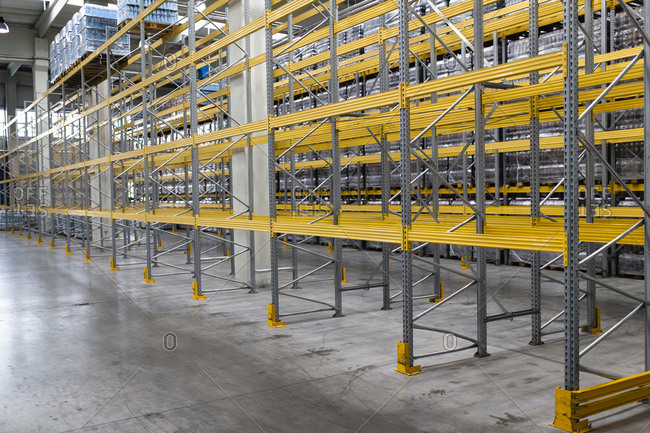Metallic racks in warehouse