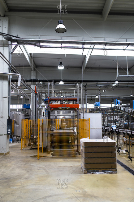 Interior of factory with food processing plants