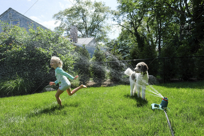 Dog looking at happy girl playing with sprinkler on grassy field in yard