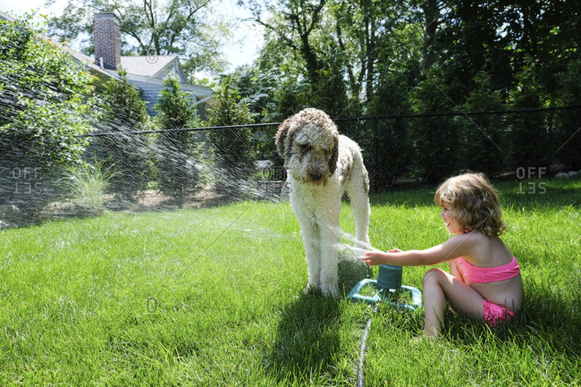 Side view of playful girl spraying water on dog with sprinkler at yard