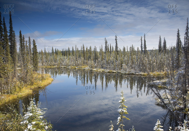 Drainage lake off Dempster Highway in Yukon, Canada