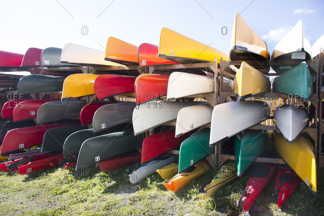Canoes for rent, Whitehorse, Yukon, Canada