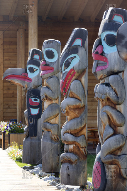 Totem pole display of the Tlingit tribe, Teslin Village, Yukon, Canada