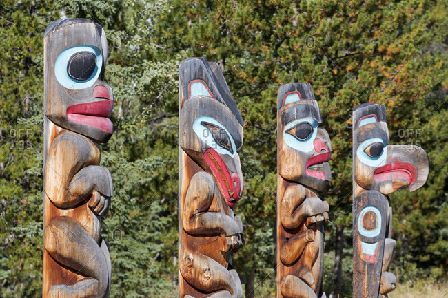 Totem pole display, Teslin Village, Yukon, Canada