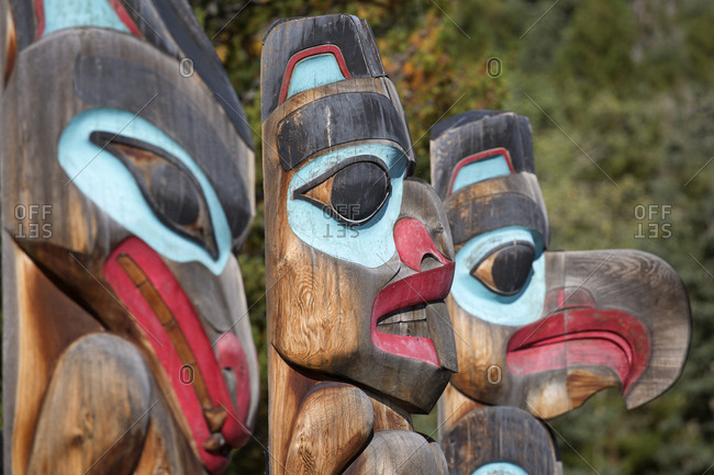 Tlingit tribe totem pole display, Teslin Village, Yukon, Canada