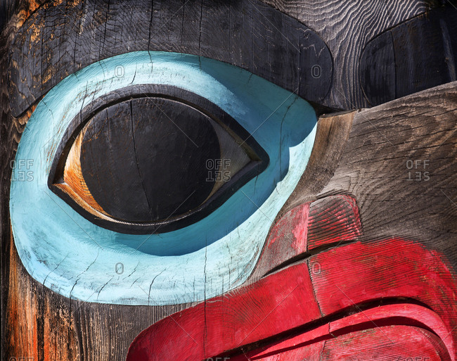 Detail of a Tlingit tribe totem pole, Teslin Village, Yukon, Canada