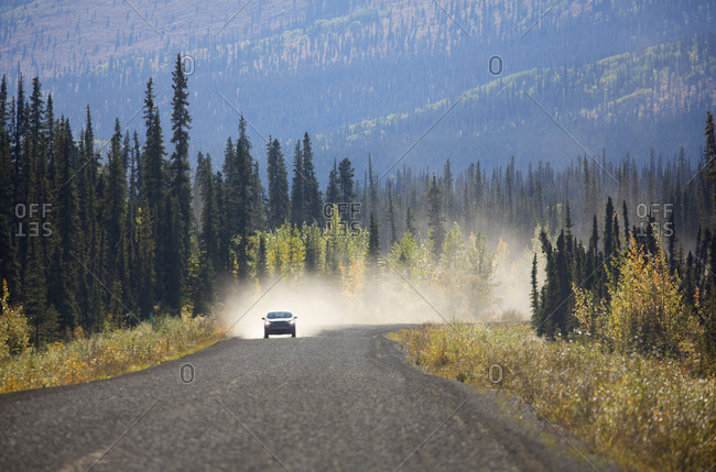 Scenic view along highway in Yukon, Canada