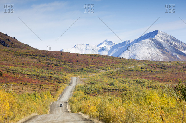 Scenic view of highway in fall, Yukon, Canada