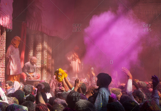 Mathura, India - March 5, 2015: Holi celebrations at the Bankey Bihari Temple