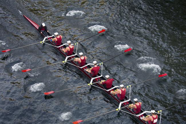 Seattle, Washington, USA - November 8, 2015: Male rowing team