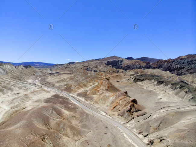 Dirt roadway seen from drone in Death Valley, California