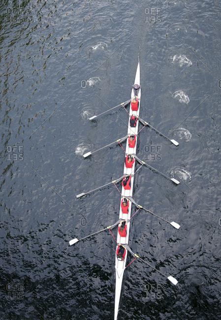 Female row team on a lake