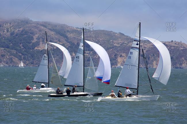San Francisco, California, USA - August 9, 2015: Sailboats sailing in San Francisco bay