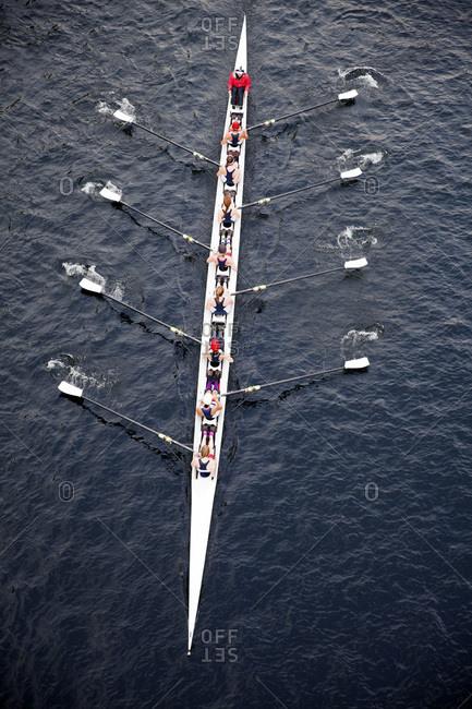 Seattle, Washington, USA - November 8, 2015: Female row team on a lake