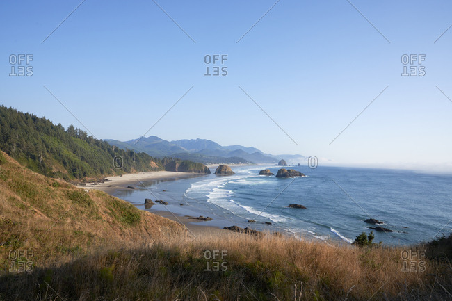 Elevated view over beach on the coast of Oregon, USA