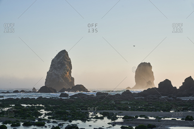 Rock formations on the coast of Cannon Beach, Oregon, USA