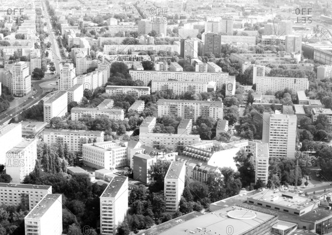 Berlin, Germany - August 17, 2018: Aerial view of cityscape of the Friedrichshain-Kreuzberg borough