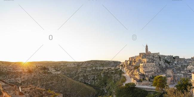 View of Matera at sunrise, Basilicata, Italy