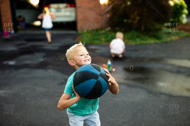 Boy plays basketball - from the Offset Collection