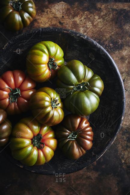 Freshly picked heirloom tomatoes