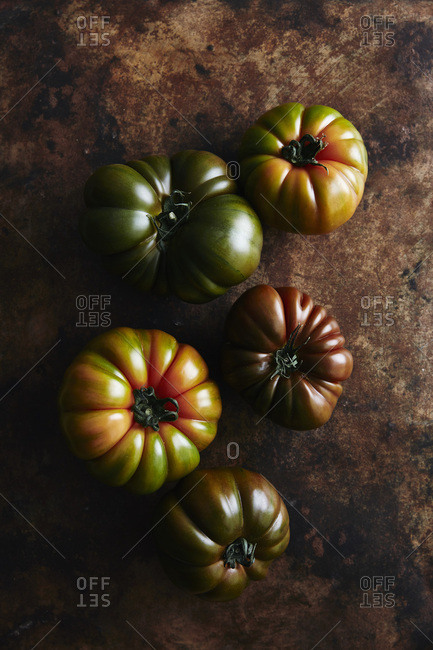 Freshly picked heirloom tomatoes