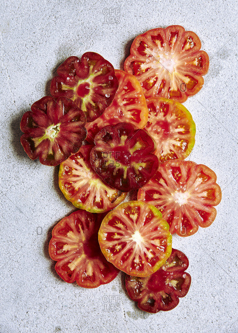 Slices of heirloom tomatoes