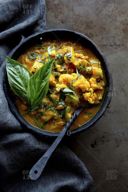 Indian vegan curry dinner