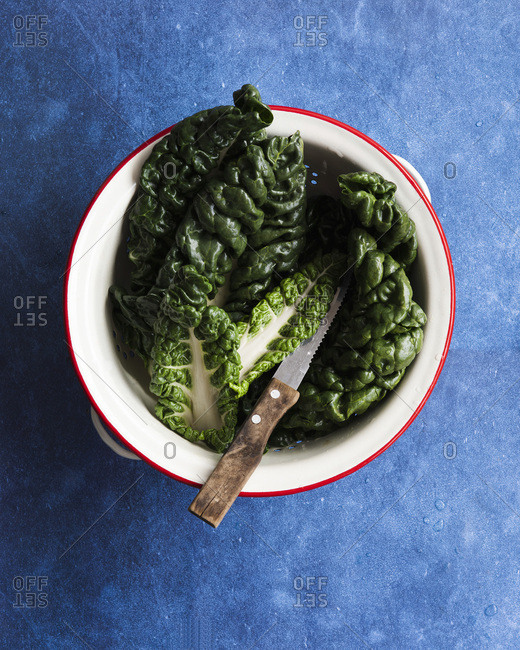 Silverbeet leaves in a colander with a knife.