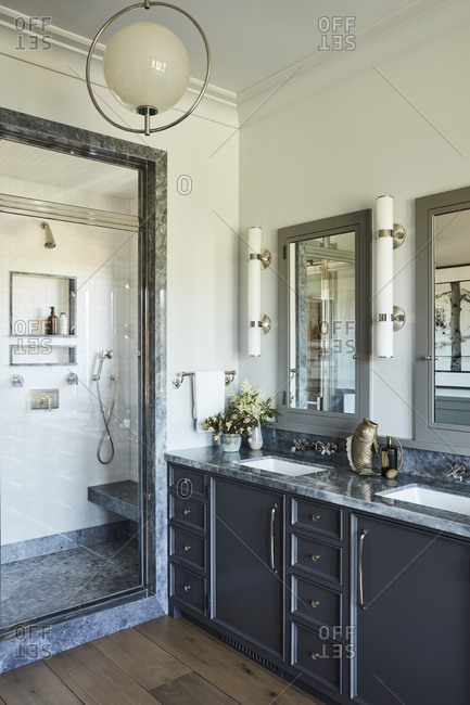Santa Monica, California - August 9, 2018: Upscale bathroom with walk in shower