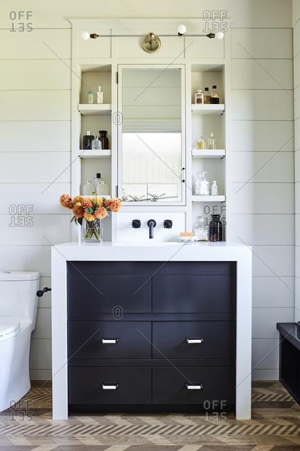 Santa Monica, California - August 8, 2018: Modern bathroom vanity