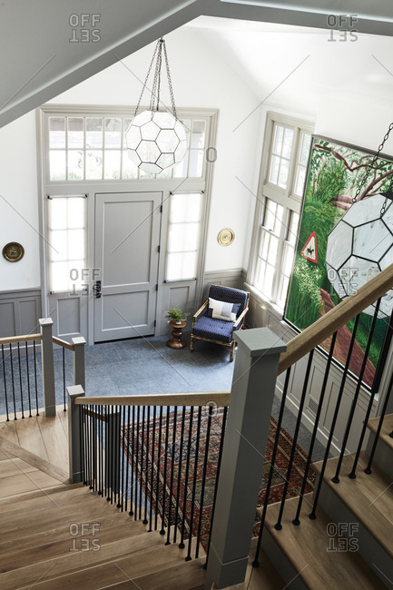 Santa Monica, California - August 9, 2018: Foyer with stairs in an upscale home