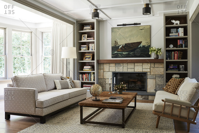 Santa Monica, California - August 9, 2018: Interior of a living room with fireplace