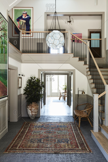 Santa Monica, California - August 8, 2018: Two story foyer in a home