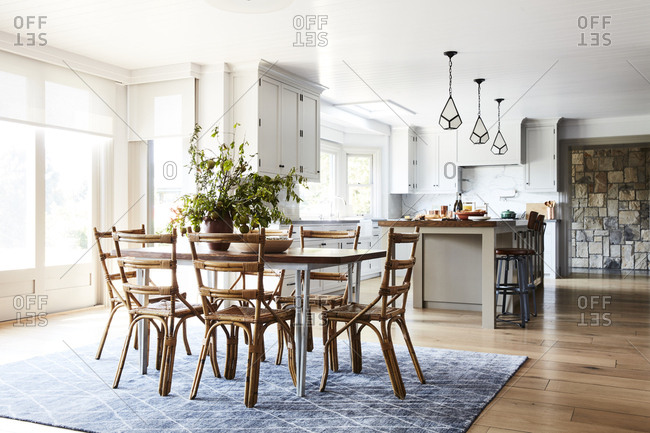 Santa Monica, California - August 8, 2018: Dining room and kitchen interior