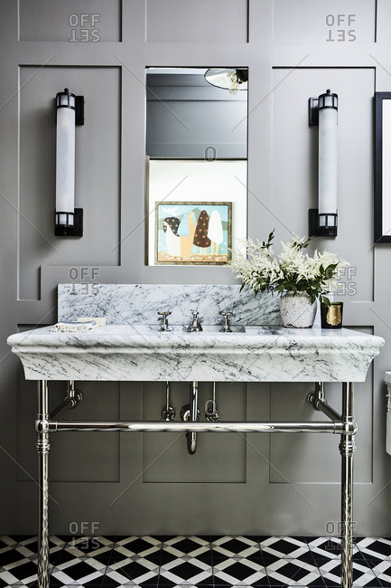 Santa Monica, California - August 8, 2018: Marble bathroom vanity
