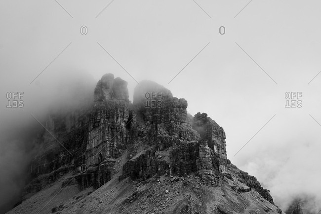 Dramatic black and white view of the dolomites