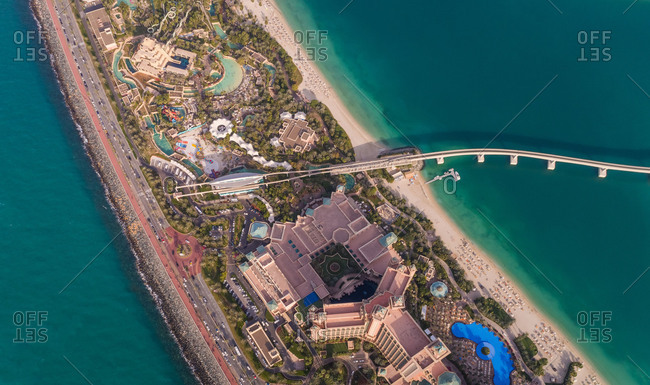 DUBAI, UAE5 JANUARY 2018: Aerial view of Atlantis, The Palm Hotel and long bridge in Dubai, UAE.