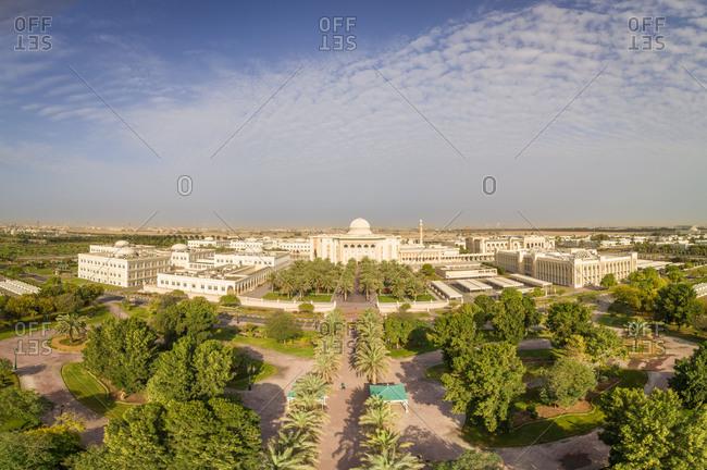 Aerial view of University City in Sharjah, UAE.
