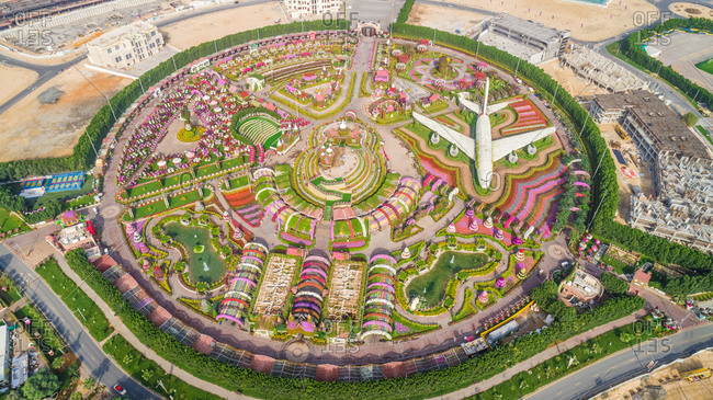 February 28, 2018: Aerial view of The unusual colorful Dubai Miracle Garden, United Arab Emirates.