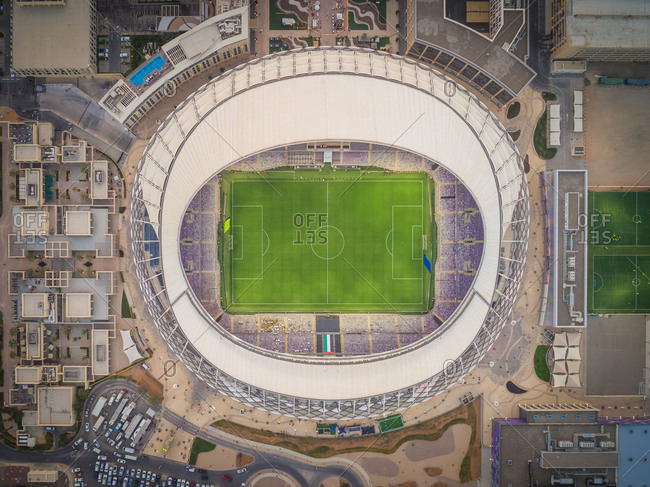 March 29, 2018: Aerial view of Hazza bin Zayed Stadium in Abu Dhabi, UAE.