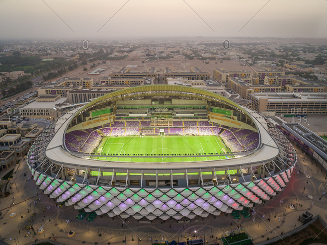 March 29, 2018: Aerial view of multicolored Hazza bin Zayed Stadium in Abu Dhabi, UAE.