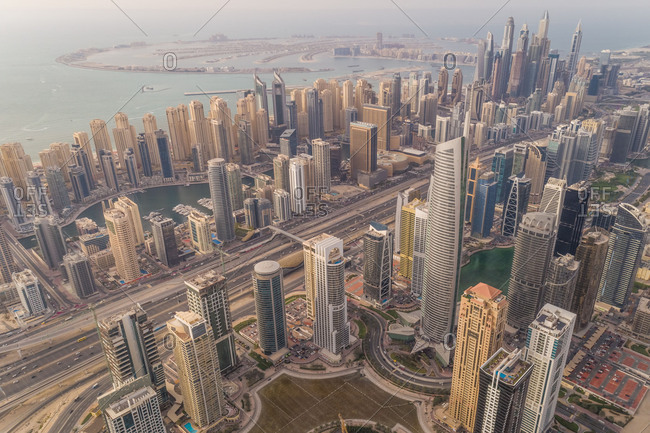 April 3, 2018: Aerial panoramic view of Dubai skyscrapers and Palm Jumeirah, UAE.