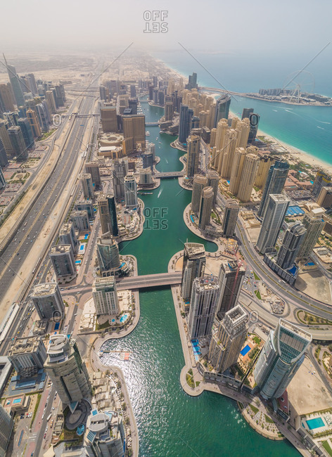 April 7, 2018: Aerial view of Dubai Marina and the cityscape with skyscrapers, UAE.