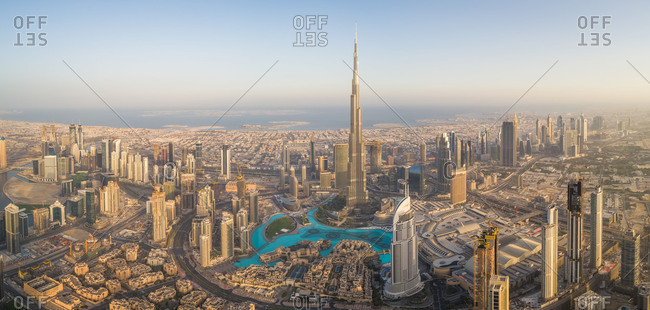 April 15, 2018: Aerial view of Burj Khalifa skyscraper and cityscape of Dubai, UAE.